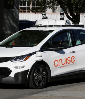 A self-driving GM Bolt EV is seen during a media event where Cruise, GM's autonomous car unit, showed off its self-driving cars in San Francisco
