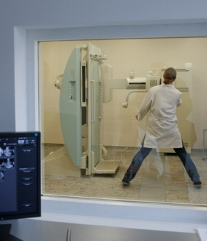 A doctor inspects an x-ray machine at a hospital in Kiev