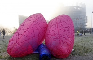 A giant inflatable pair of lungs is seen in front of the European Parliament in Strasbourg