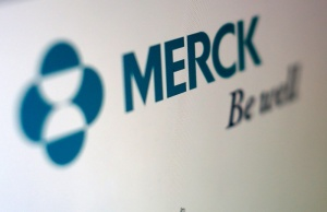 The logo of Merck is pictured in this illustration photograph in Cardiff