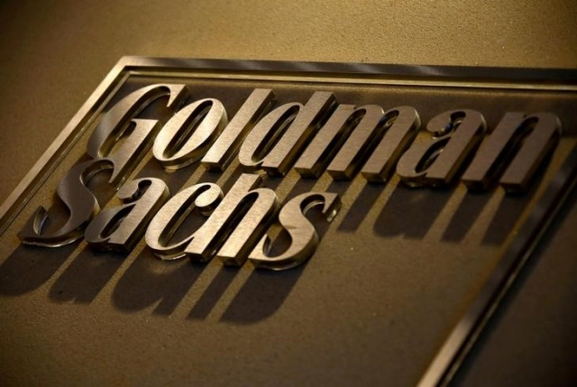 A sign is displayed in the reception of Goldman Sachs in Sydney
