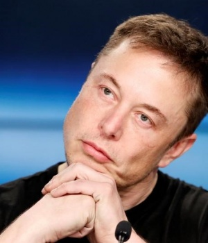 Elon Musk at a press conference following the first launch of a SpaceX Falcon Heavy rocket in Cape Canaveral
