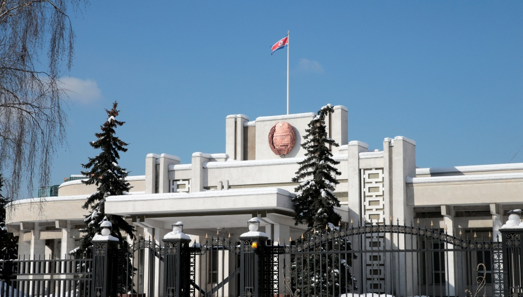 A general view shows the embassy of North Korea in Moscow