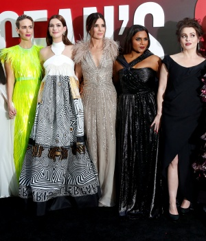 "Cast members Blanchett, Awkwafina, Paulson, Hathaway, Bullock, Kaling, Bonham Carter and Rihanna pose at the world premiere of the film ""Ocean's 8"" at Alice Tully Hall in New York City"