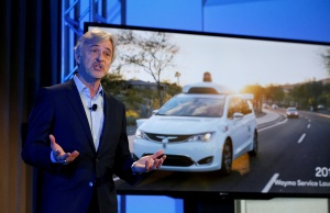 Krafcik CEO of Waymo is pictured during the unveiling of a driverless car in New York City, the United States