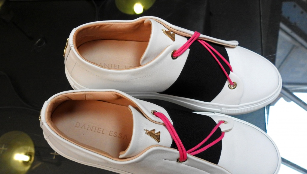 Luxury sneakers designed by Syrian designer Daniel Essa are displayed to be seen for online sale at a concept store in Lille