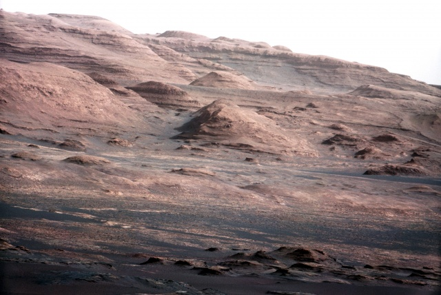 The base of Mars Mount Sharp is pictured in this NASA handout photo taken by the Curiosity rover.