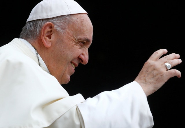 Pope Francis arrives to lead the Wednesday general audience in Saint Peter's square at the Vatican