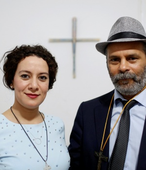 Farah Tarneem and her husband Adam Rabti, a native Moroccan converted to Christianity, pose for a photo in a house used as a church in Ain Atiq district in the outskirts of Rabat