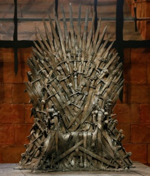 The Iron Throne is seen on the set of the television series Game of Thrones in the Titanic Quarter of Belfast, Northern Ireland