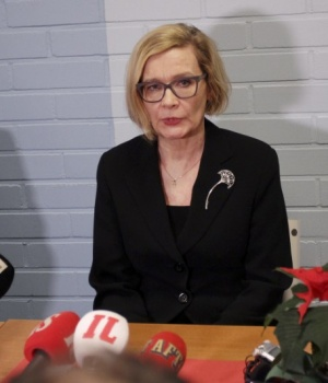 Finnish Interior Minister Paula Risikko looks on during a news conference at the crisis center in Imatra