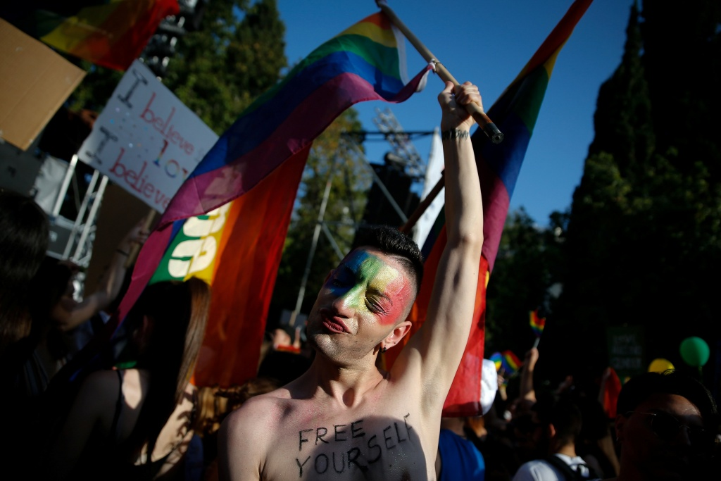 A participant is pictured at a gay pride parade in Athens
