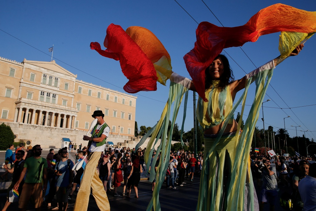 Participants are pictured at a Gay Pride parade in Athens