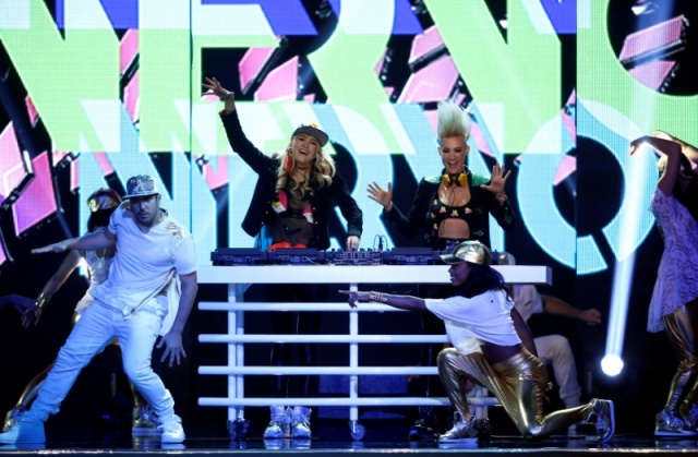 Australian duo Olivia Nervo and Miriam Nervo perform during the 2016 Miss USA pageant at the T-Mobile Arena in Las Vegas