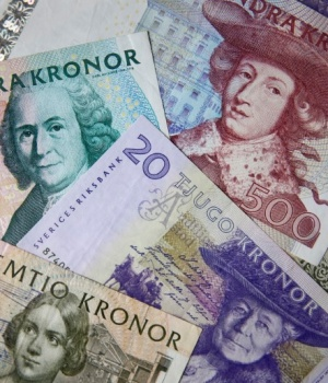Swedish kronor are seen in this photo illustration taken in Stockholm