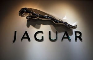 The Jaguar logo is pictured at a Jaguar Land Rover showroom in Mumbai