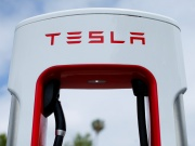 A Tesla super charger is shown at one of the company's charging stations in San Juan Capistrano, California,