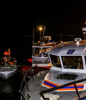 A view shows rescue boats after a collision of a river cruise with a tugboat in Volgograd