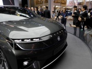 The Byton Concept T car is displayed during a media preview of the Auto China 2018 motor show in Beijing