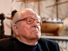 Jean-Marie Le Pen, founder of France's far-right National Front political party, reacts during an interview with Reuters in Montrerout