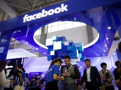 Facebook booth is seen at the China International Big Data Industry Expo in Guiyang