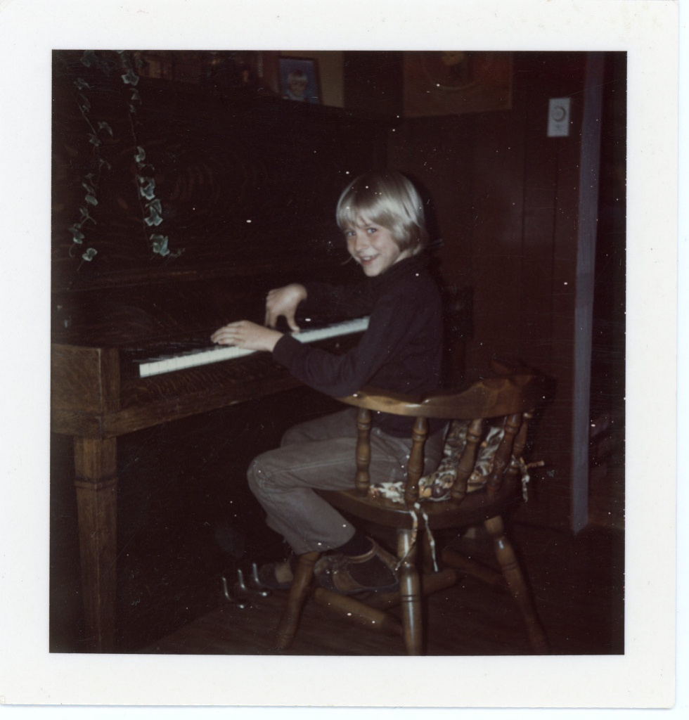 Kurt Cobain is seen playing the piano aged 8 on April 15, 1975 in an image handed out by his family which will form part of an exhibition of his personal items which will be exhibited at Museum of Style Icons in Newbridge