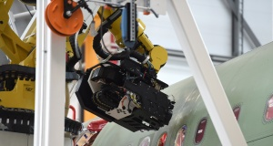 """Drilling and filling robot """"Luise"""" is seen in a new A320 production line at the Airbus plant in Hamburg"""