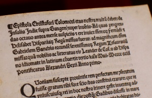 A copy of a letter written by Christopher Columbus, that had been stolen from Vatican archives and returned by United States to the Vatican Library, is seen displayed at the Vatican