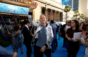 """Ellen DeGeneres waves at the premiere of """"Finding Dory"""" at El Capitan theatre in Hollywood"""