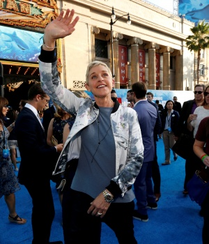 "Ellen DeGeneres waves at the premiere of ""Finding Dory"" at El Capitan theatre in Hollywood"