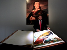 """A first edition of John James Audubon's """"The Birds of America"""" is shown during a preview at Christie's auction house in New York"""