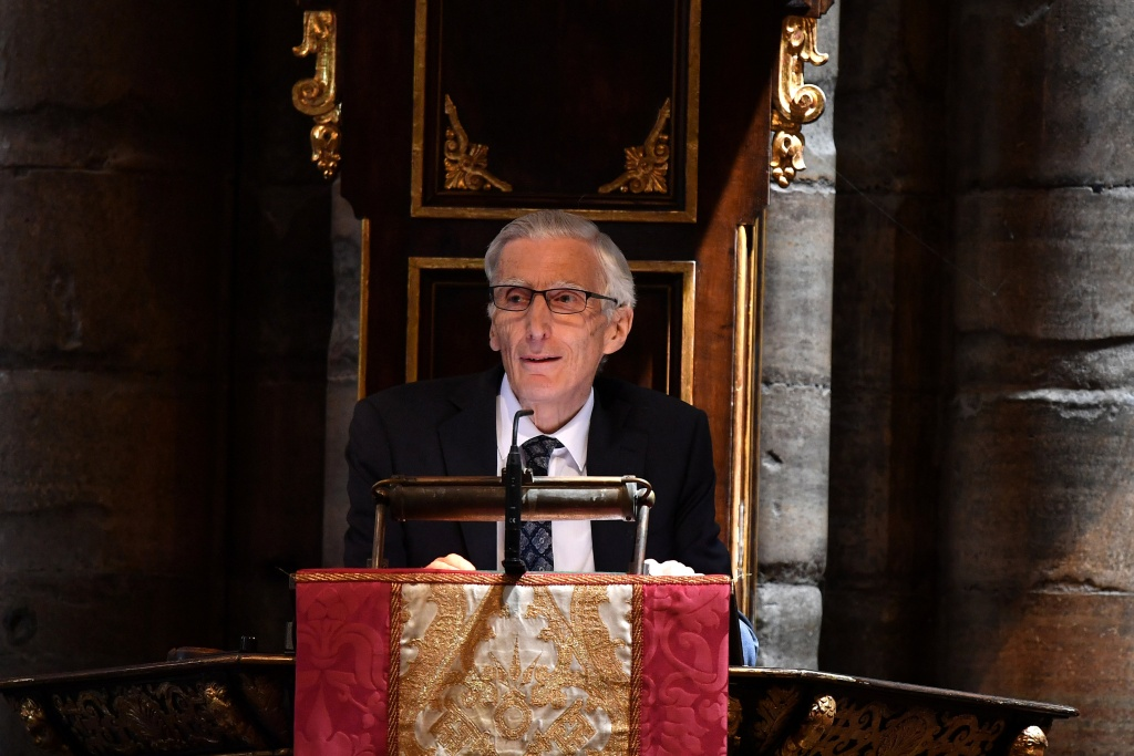Astronomer Royal Martin Rees speaks at a memorial service for British scientist Stephen Hawking during which his ashes will be buried in the nave of the Abbey church, at Westminster Abbey, in London