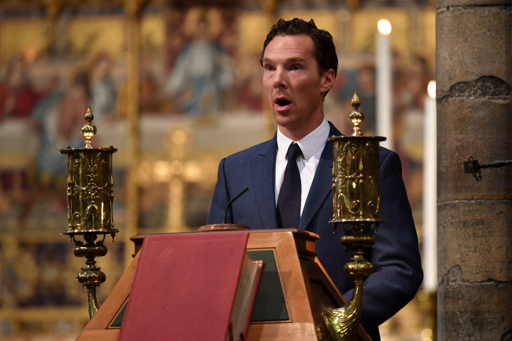 British actor, Benedict Cumberbatch speaks at a memorial service for British scientist Stephen Hawking during which his ashes will be buried in the nave of the Abbey church, at Westminster Abbey, in London