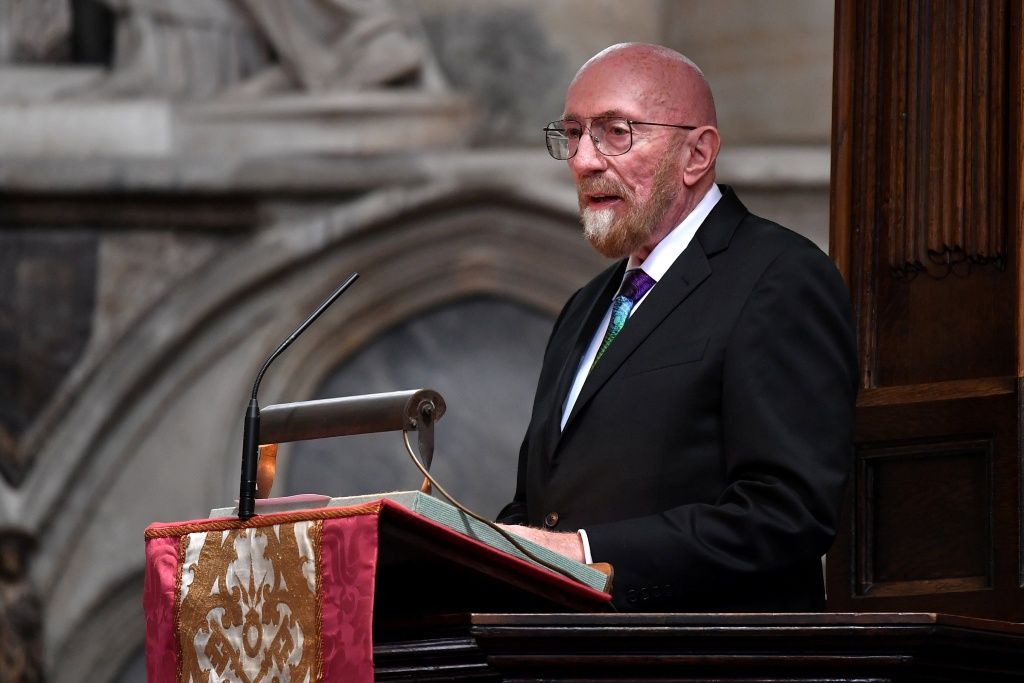 American theoretical physicist and Nobel laureate, Kip Thorne speaks at a memorial service for British scientist Stephen Hawking during which his ashes will be buried in the nave of the Abbey church, at Westminster Abbey, in London