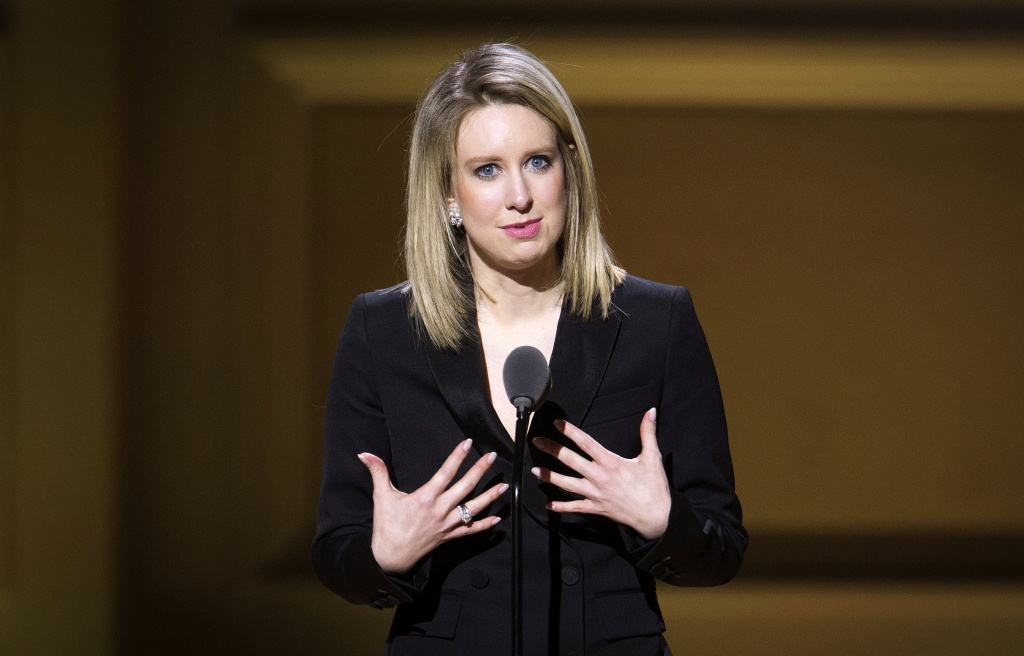 Theranos CEO Holmes speaks on stage at the Glamour Women of the Year Awards where she receives an award, in the Manhattan borough of New York