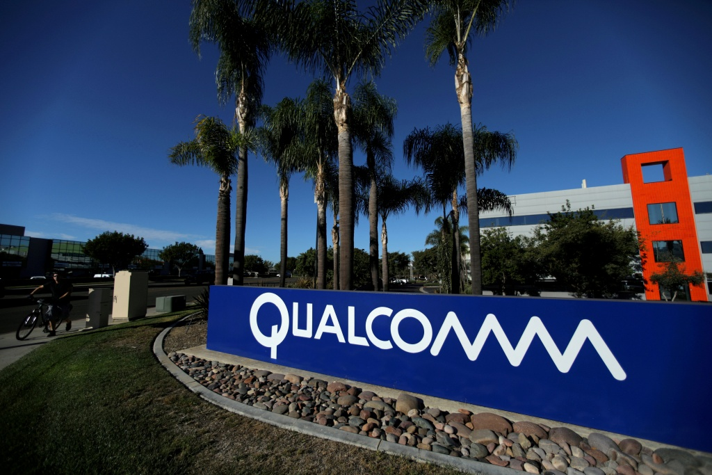 A sign on the Qualcomm campus is seen in San Diego