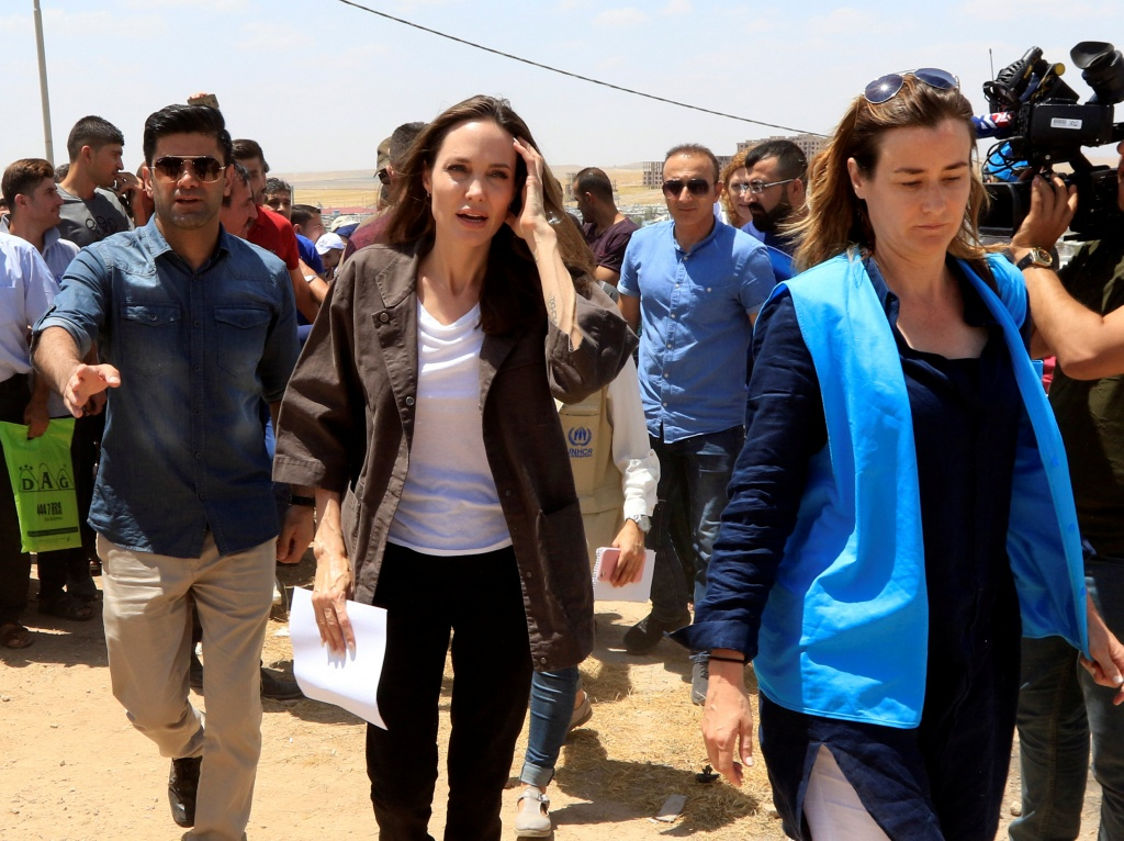 U.N. Refugee Agency's special envoy Angelina Jolie attends a news conference during her visits to a camp for Syrian refugees in Dohuk
