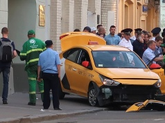 A view shows a damaged taxi, which ran into a crowd of people, in central Moscow