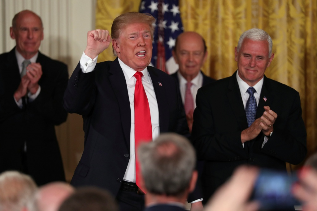 U.S. President Donald Trump delivers remarks at a meeting of the National Space Council at the White House in Washington