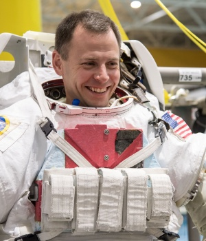 Astronaut Nick Hague trains at the NASA Neutral Buoyancy Laboratory in Houston