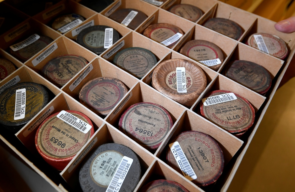 Wax cylinder recordings stored as part of the British Library's musical collection in London