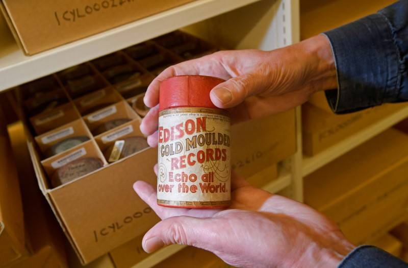 Wax cylinder recordings at British Library's musical collection in London