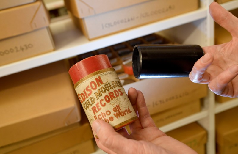 Wax cylinder part of British Library's musical collection in London