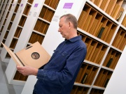 Albums of vinyl recordings stored as part of the British Library's musical collection in London