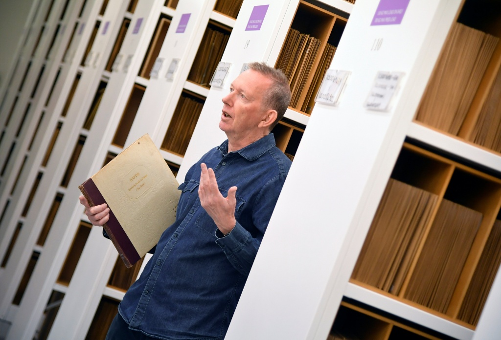 Albums of vinyl recordings stored at British Library's musical collection in London