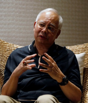 Malaysia's former prime minister Najib Razak speaks to Reuters during an interview in Langkawi, Malaysia