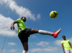 "Asylum seekers take part in the soccer tournament ""All on the pitch"" organised by NGO's and Belgian Football Association at the occasion of the World Refugee Day, in Deurne"
