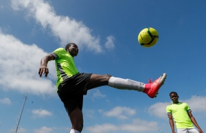 """Asylum seekers take part in the soccer tournament """"All on the pitch"""" organised by NGO's and Belgian Football Association at the occasion of the World Refugee Day, in Deurne"""