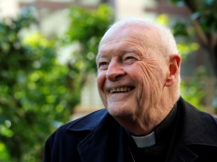 Cardinal Theodore Edgar McCarrick smiles during an interview with Reuters at the North American College at the Vatican