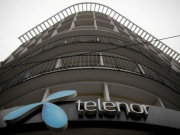 Telenor's logo is seen in central Belgrade